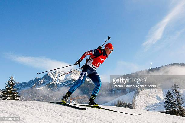 Olga Podchufarova of Russia competes during the IBU Biathlon World Cup Men's and Women's Sprint on December 12 2014 in Hochfilzen Austria