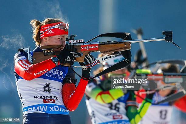 Olga Podchufarova of Russia competes during the IBU Biathlon World Cup Men's and Women's Pursuit on December 14 2014 in Hochfilzen Austria