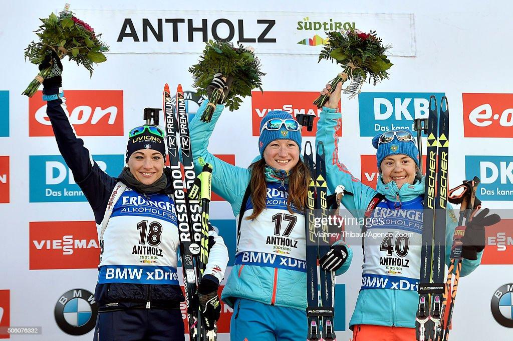 Olga Podchufarova of Russia takes 1st place Dorothea Wierer of Italy takes 2nd place Ekaterina Yurlova of Russia takes 3rd place during the IBU...