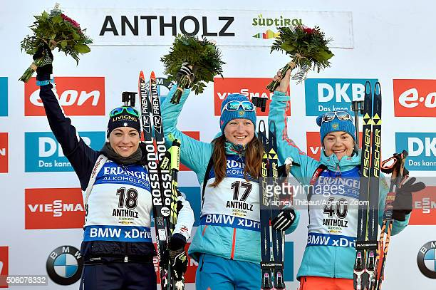 Olga Podchufarova of Russia takes 1st place Dorothea Wierer of Italy takes 2nd place Ekaterina Yurlova of Russia takes 3rd place during the IBU...