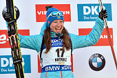 Olga Podchufarova of Russia takes 1st place during the IBU Biathlon World Cup Women's Sprint on January 21 2016 in AntholzAnterselva Italy