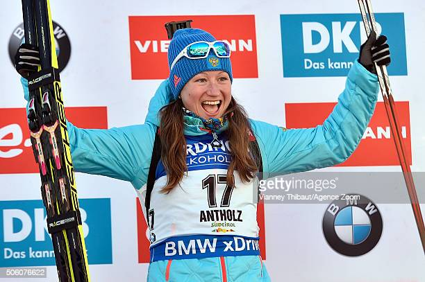 Olga Podchufarova of Russia takes 1st place during the IBU Biathlon World Cup Women's Sprint on January 21 2016 in AntholzAnterselva Italy