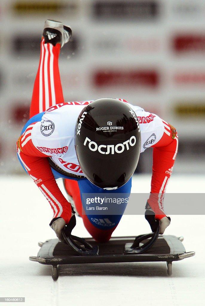Olga Potylitsina of Russia competes in the women's skeleton third heat of the IBSF Bob & Skeleton World Championship at Olympia Bob Run on February 1, 2013 in St Moritz, Switzerland.