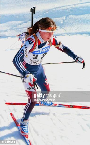 Olga Romasko of Russia competes in the Women's 75km Sprint during the IBU Biathlon World Cup Nozawa Onsen on March 8 1997 in Nozawaonsen Nagano Japan