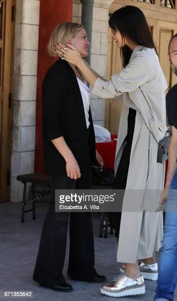 Olga Rossi and Rosio Munoz Morales are seen on the set for 'Tu Mi Nascondi Qualcosa' at Cinecitta Studios on April 10 2017 in Rome Italy