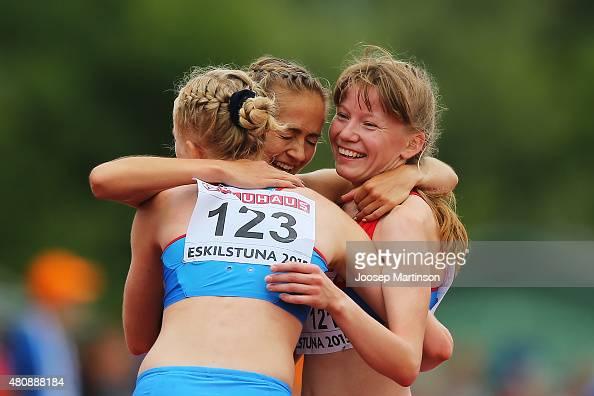 Olga Shargina Mariya Losinova and Klavdiya Afanasyeva of Russia celebrate after the Women's 10000m Race Walk at Ekangen Arena on July 16 2015 in...