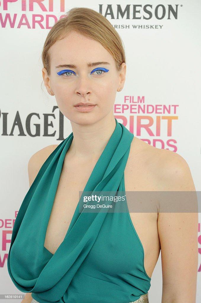 Olga Sorokina arrives at the 2013 Film Independent Spirit Awards at Santa Monica Beach on February 23, 2013 in Santa Monica, California.