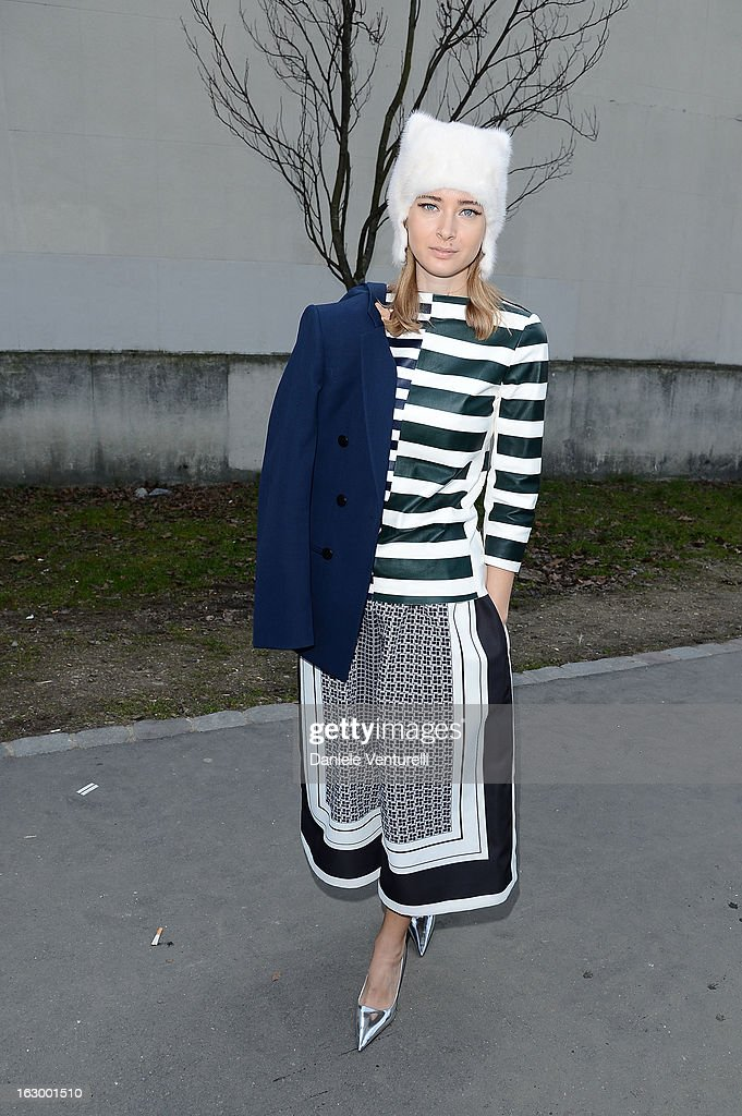 Olga Sorokina arrives to attend the Celine Fall/Winter 2013 Ready-to-Wear show as part of Paris Fashion Week on March 3, 2013 in Paris, France.