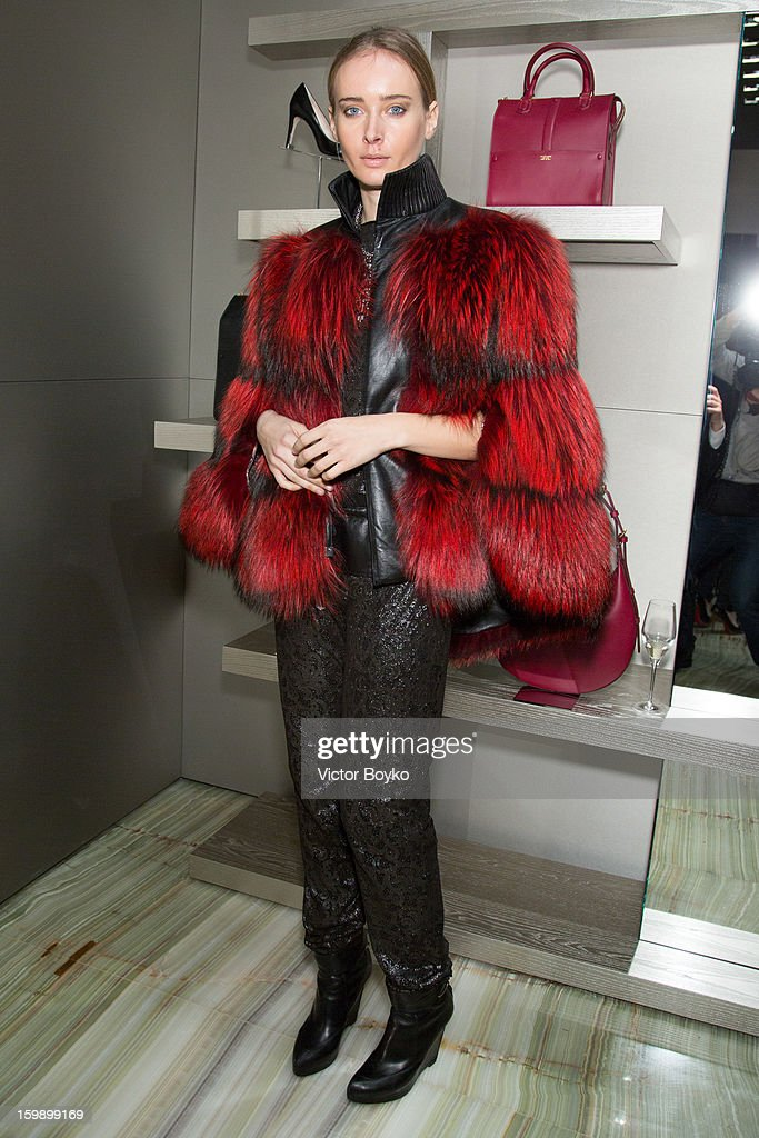 Olga Sorokina attends the Giorgio Armani Paris avenue Montaigne boutique opening on January 22, 2013 in Paris, France.