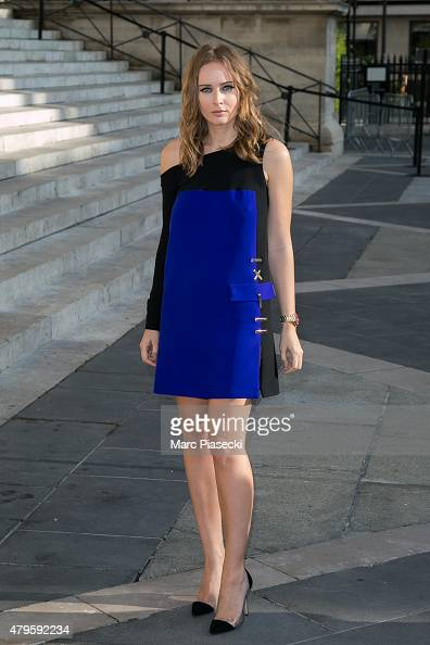 Olga Sorokina attends the Versace show as part of Paris Fashion Week Haute Couture Fall/Winter 2015/2016 on July 5 2015 in Paris France