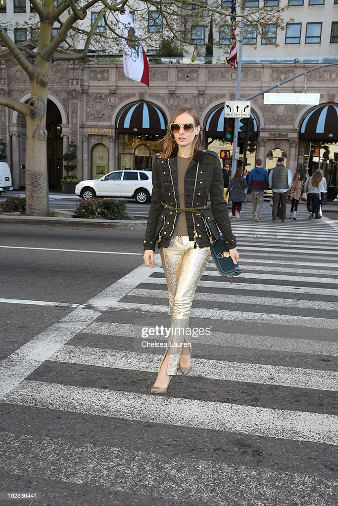 <a gi-track='captionPersonalityLinkClicked' href=/galleries/search?phrase=Olga+Sorokina&family=editorial&specificpeople=8201470 ng-click='$event.stopPropagation()'>Olga Sorokina</a> shops on Rodeo Drive during the Academy Awards week on February 21, 2013 in Los Angeles, California.