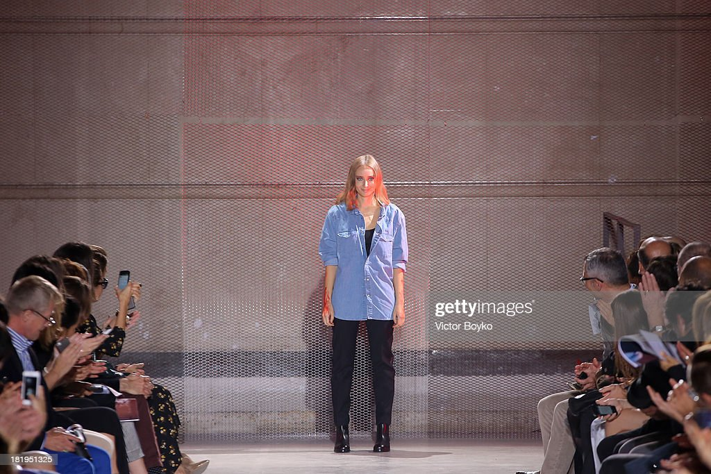 <a gi-track='captionPersonalityLinkClicked' href=/galleries/search?phrase=Olga+Sorokina&family=editorial&specificpeople=8201470 ng-click='$event.stopPropagation()'>Olga Sorokina</a> walks the runway during IRFE show as part of the Paris Fashion Week Womenswear Spring/Summer 2014 on September 26, 2013 in Paris, France.