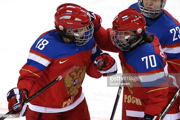 Olga Sosina of Russia celebrates with teammate Anna Shibanova after scoring a goal in the third period against Viona Harrer of Germany during the...
