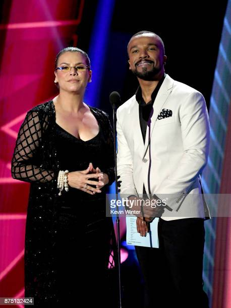 Olga Tanon and Alexandre Pires speak onstage at the 18th Annual Latin Grammy Awards at MGM Grand Garden Arena on November 16 2017 in Las Vegas Nevada