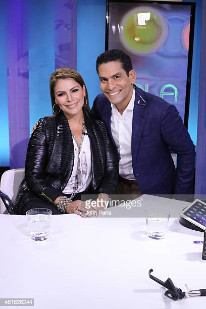 Olga Tanon and Ismael Cala during her visit to CNN Espanol CALA on July 22 2015 in Miami Florida