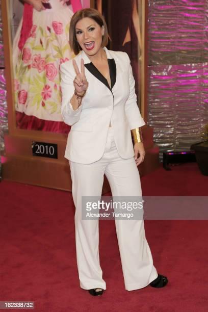 Olga Tanon arrives at the 25th anniversary of Univision's Premio lo Nuestro a la Musica Latina at the AmericanAirlines Arena on February 21 2013 in...