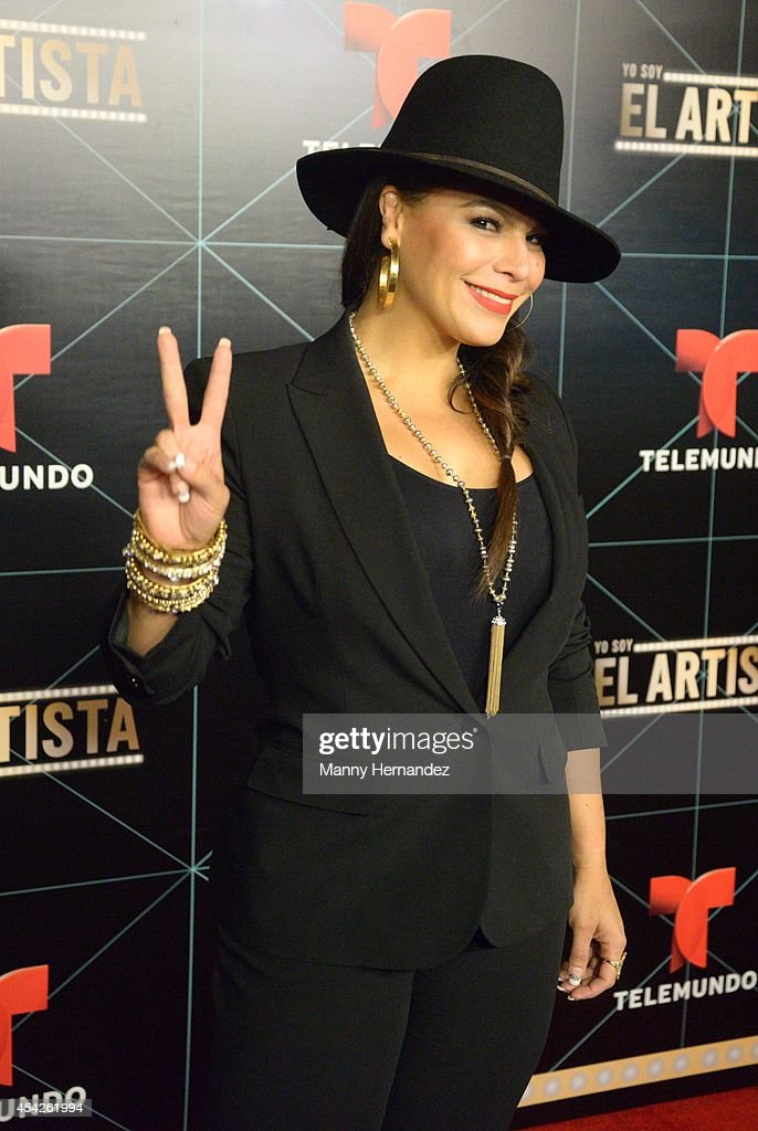 Olga Tanon attends Telemundo press conference for Yo Soy El Artista(I Am The Artist) at the W South Beach at W Hotel on August 27, 2014 in Miami, Florida.