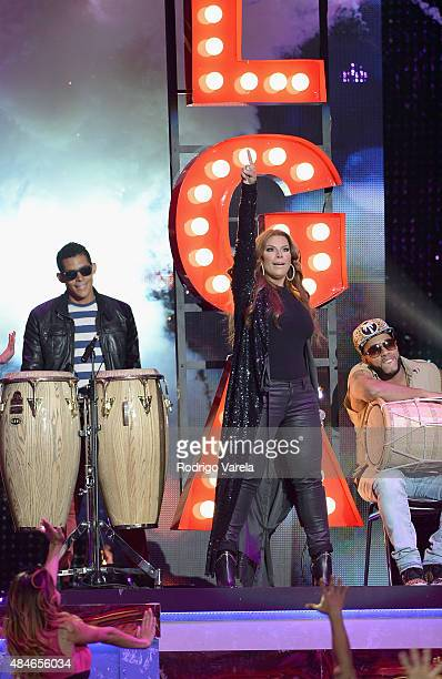 Olga Tanon performs onstage at Telemundo's 'Premios Tu Mundo' Awards 2015 at American Airlines Arena on August 20 2015 in Miami Florida
