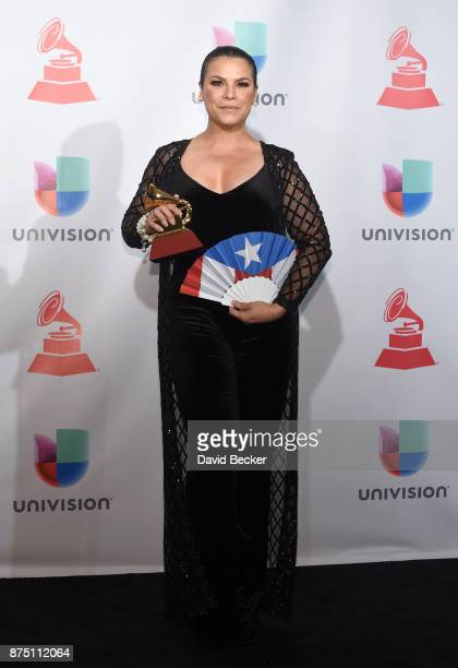 Olga Tanon poses in the press room during The 18th Annual Latin Grammy Awards at MGM Grand Garden Arena on November 16 2017 in Las Vegas Nevada