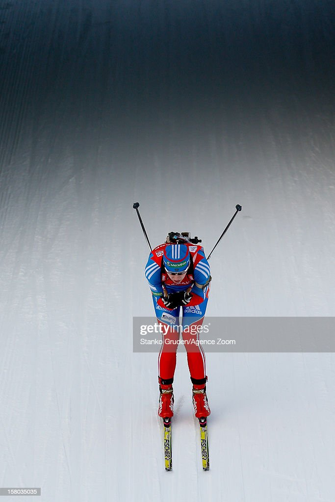Olga Vilukhina of Russia take 3rd place during the IBU Biathlon World Cup Women's Relay on December 09, 2012 in Hochfilzen, Austria.