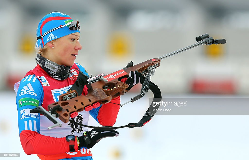 <a gi-track='captionPersonalityLinkClicked' href=/galleries/search?phrase=Olga+Zaitseva&family=editorial&specificpeople=723918 ng-click='$event.stopPropagation()'>Olga Zaitseva</a> of Russia competes at the zeoring in the women's 7.5km sprint event during the IBU Biathlon World Championships at Vysocina Arena on February 9, 2013 in Nove Mesto na Morave, Czech Republic.