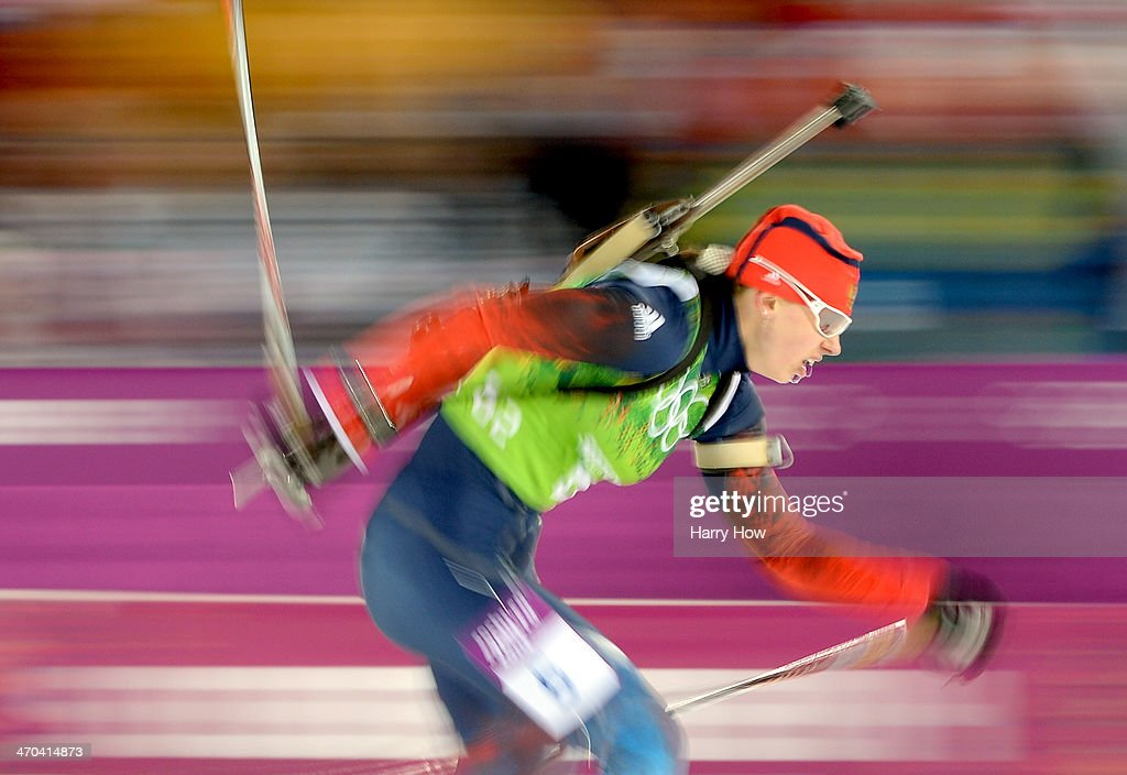 <a gi-track='captionPersonalityLinkClicked' href=/galleries/search?phrase=Olga+Zaitseva&family=editorial&specificpeople=723918 ng-click='$event.stopPropagation()'>Olga Zaitseva</a> of Russia competes in the 2 x 6 km Women + 2 x 7 km Men Mixed Relay during day 12 of the Sochi 2014 Winter Olympics at Laura Cross-country Ski & Biathlon Center on February 19, 2014 in Sochi, Russia.