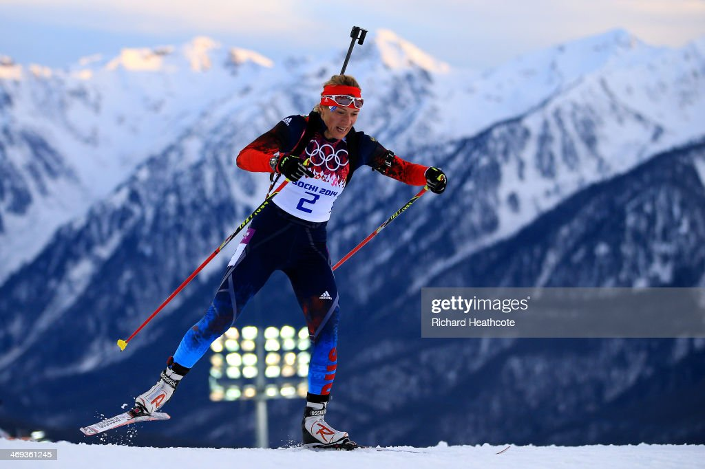 <a gi-track='captionPersonalityLinkClicked' href=/galleries/search?phrase=Olga+Zaitseva&family=editorial&specificpeople=723918 ng-click='$event.stopPropagation()'>Olga Zaitseva</a> of Russia competes in the Women's 15 km Individual during day seven of the Sochi 2014 Winter Olympics at Laura Cross-country Ski & Biathlon Center on February 14, 2014 in Sochi, Russia.
