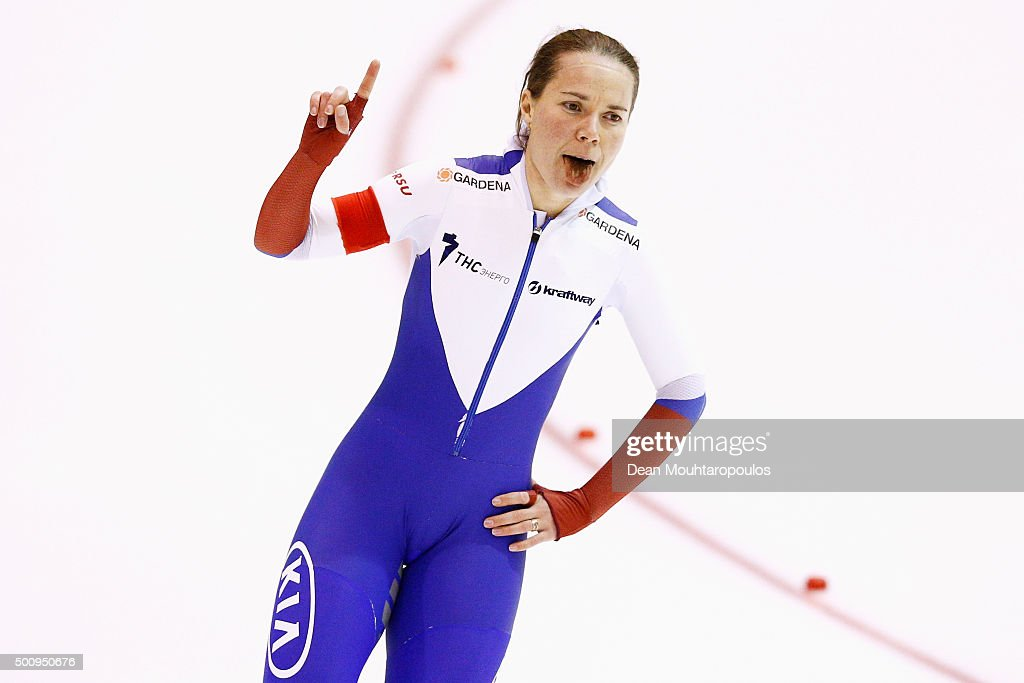 Olga Graf of Russia celebrates after the 3000m Ladies race during day 1 of the ISU World Cup Speed Skating held at Thialf Ice Arena on December 11, 2015 in Heerenveen, Netherlands.
