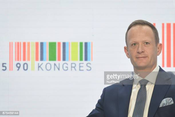 Olgierd Cieslik Chairman of 'Totalizator Sportowy' seen during a panel discussion about Polish Football during Congress 590 in the new Exhibition and...