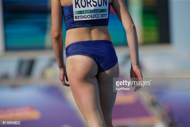 Olha Korsun of Ukraine is seen during the triple jump competition as part of the U23 European Athletics Championships in Bydgoszcz Poland on 13 July...