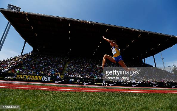 Olha Saladhu of Ukraine competes in the triple jump during day 2 of the IAAF Diamond League Prefontaine Classic at Hayward Field on May 30 2015 in...