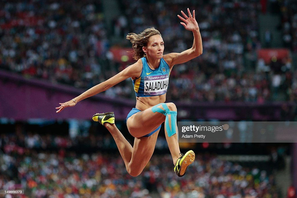 Olha Saladuha of Ukraine competes in the Women's Triple Jump final on Day 9 of the London 2012 Olympic Games at the Olympic Stadium on August 5, 2012 in London, England.