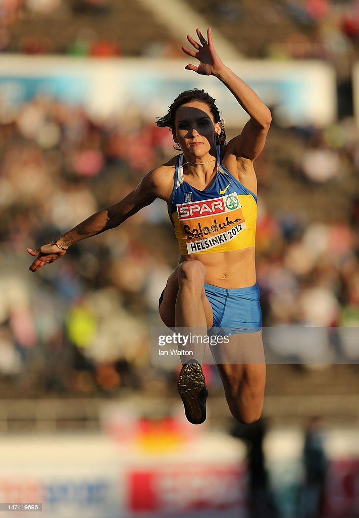 Olha Saladuha of Ukraine competes in the Women's Triple Jump Final during day three of the 21st European Athletics Championships at the Olympic Stadium on June 29, 2012 in Helsinki, Finland.