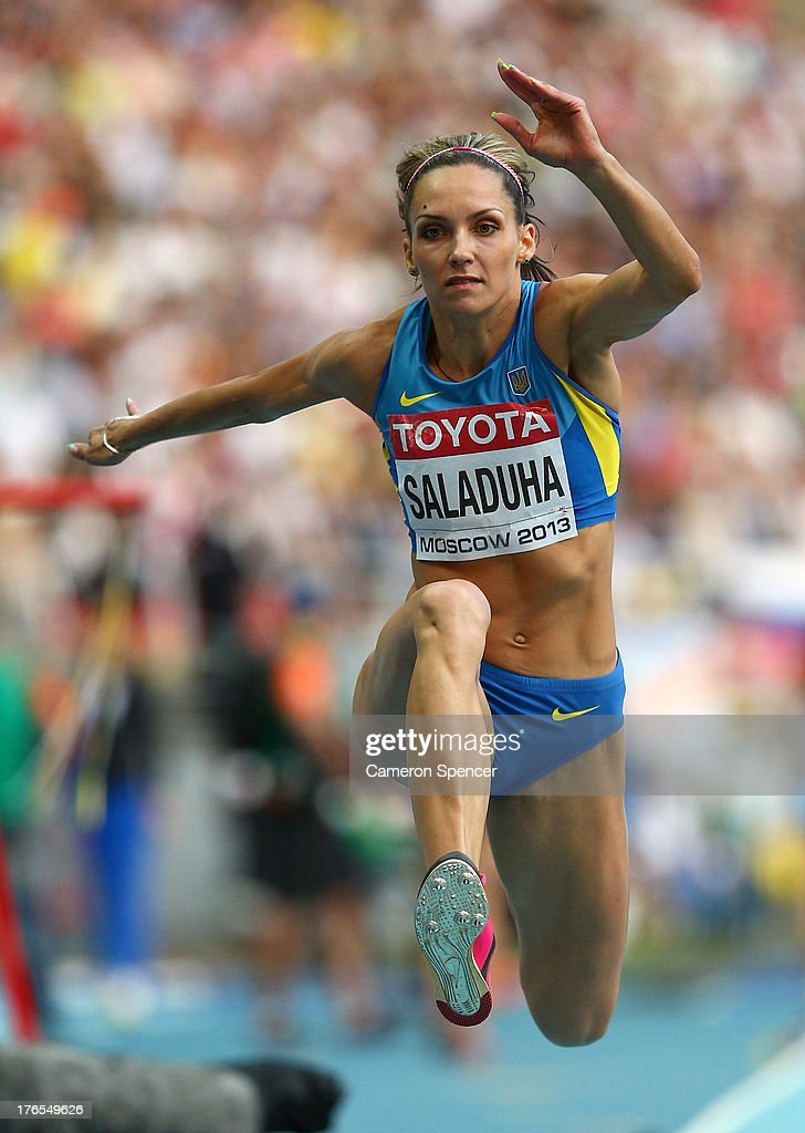 Olha Saladuha of Ukraine competes in the Women's Triple Jump final during Day Six of the 14th IAAF World Athletics Championships Moscow 2013 at Luzhniki Stadium on August 15, 2013 in Moscow, Russia.
