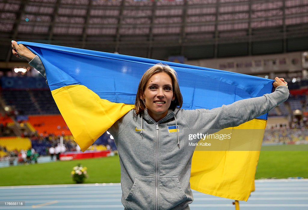 Olha Saladuha of Ukraine wins bronze in the Women's Triple Jump final during Day Six of the 14th IAAF World Athletics Championships Moscow 2013 at Luzhniki Stadium on August 15, 2013 in Moscow, Russia.