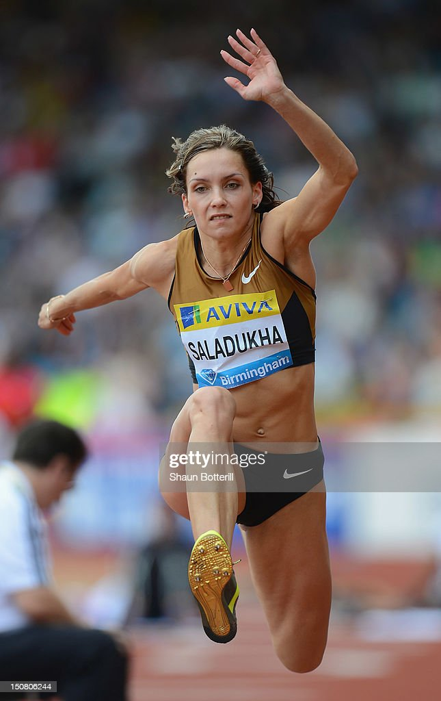 <a gi-track='captionPersonalityLinkClicked' href=/galleries/search?phrase=Olha+Saladukha&family=editorial&specificpeople=7849121 ng-click='$event.stopPropagation()'>Olha Saladukha</a> of Ukraine competes in the women's triple jump during the Samsung Diamond League 2012 Aviva Birmingham Grand Prix at Alexander Stadium on August 26, 2012 in Birmingham, England.