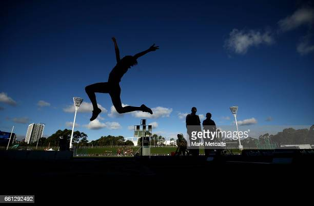Oli Callahan of South Australia competes in the mens open long jump during day six of the Australian Athletics Championships at Sydney Olympic Park...