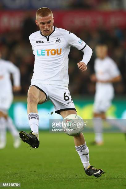 Oli McBurnie of Swansea City during the Carabao Cup fourth round match between Swansea City and Manchester United at the Liberty Stadium on October...