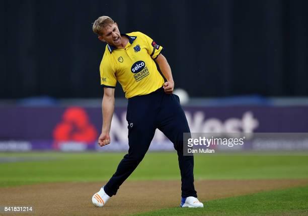 Oli Stone of Birmingam celebrates dismissing Marchant de Lange of Glamorgan during the NatWest T20 Blast SemiFinal match between Birmingham Bears and...