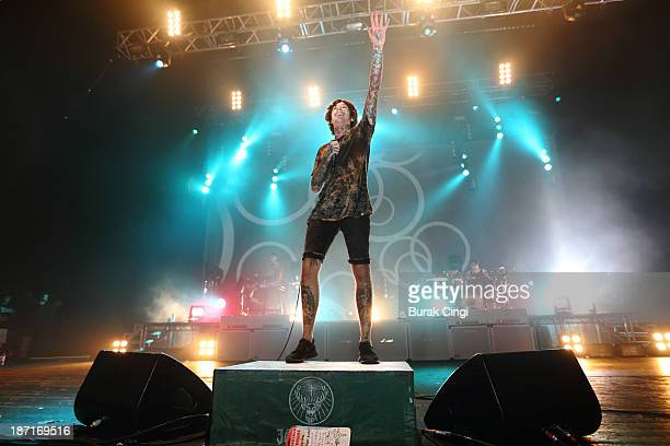 Oli Sykes of Bring Me The Horizon performs on stage at Brixton Academy on November 6 2013 in London United Kingdom