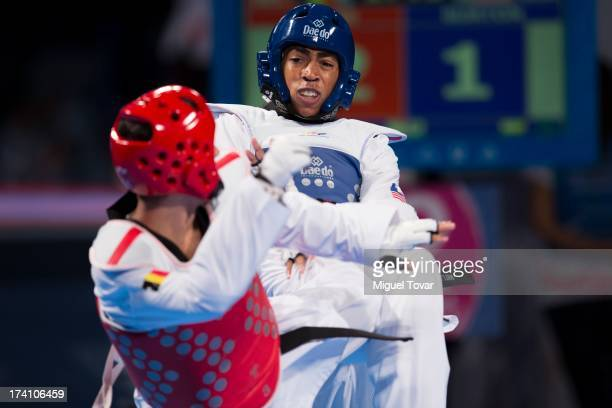 Olie Burton of USA competes with Jaouad Achab of Belgium during a men's 63 kg combat of WTF World Taekwondo Championships 2013 at the exhibitions...