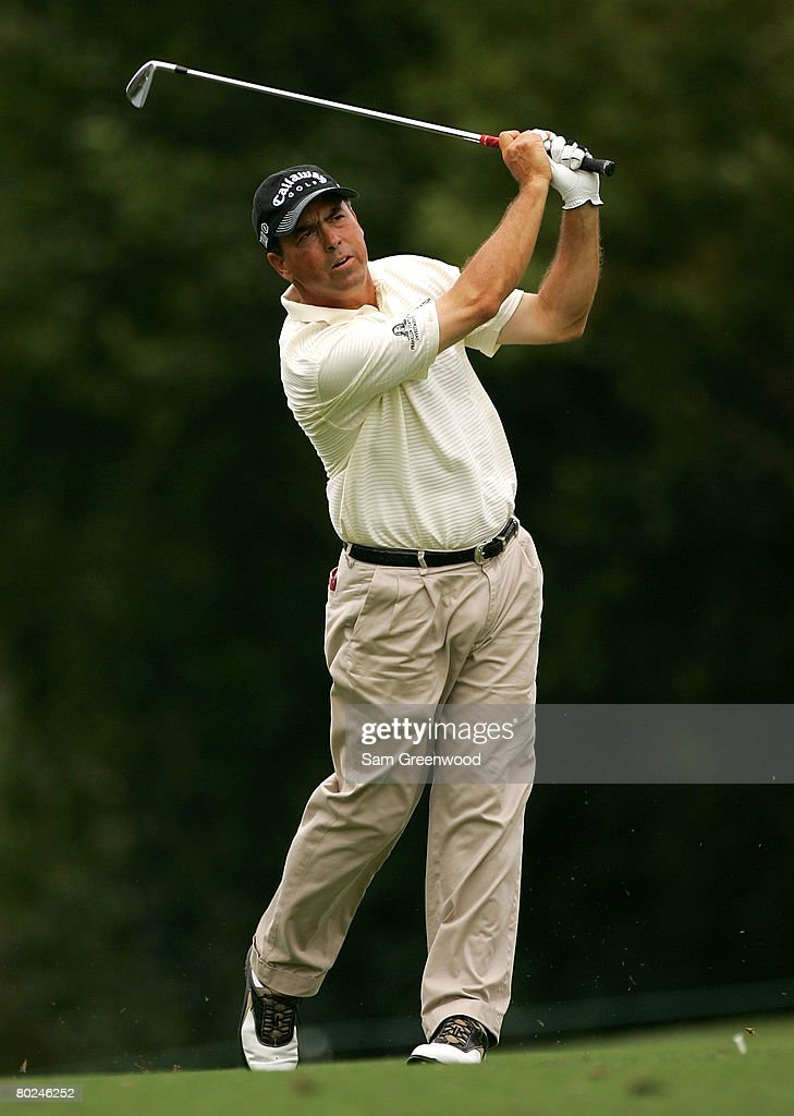 Olin Browne hits a shot on the 6th hole during the continuation of the second round of the PODS Championship at Innisbrook Resort and Golf Club on March 8, 2008 in Palm Harbor, Florida.
