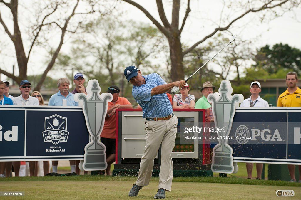 <a gi-track='captionPersonalityLinkClicked' href=/galleries/search?phrase=Olin+Browne&family=editorial&specificpeople=224617 ng-click='$event.stopPropagation()'>Olin Browne</a> hits his tee shot on the 16th hole during the second round for the 77th Senior PGA Championship presented by KitchenAid held at Harbor Shores Golf Club on May 27, 2016 in Benton Harbor, Michigan.