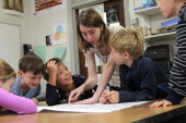Olin College of Engineering student Chelsea Nayback works with third graders at the Mitchell School in Needham engaging them on STEM foundations to...