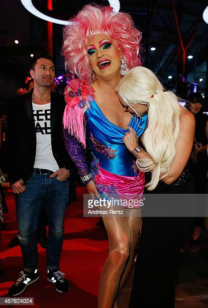 Oliva Jones and Daniela Katzenberger attend the 18th Annual German Comedy Awards at Coloneum on October 21 2014 in Cologne Germany The show will be...