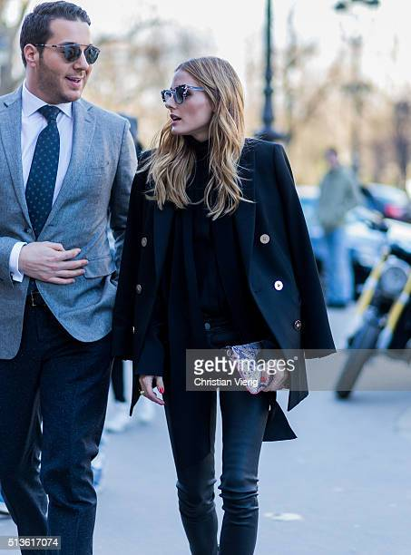 Oliva Palermo wearing a wool jacket and black leather pants outside Barbara Bui during the Paris Fashion Week Womenswear Fall/Winter 2016/2017 on...