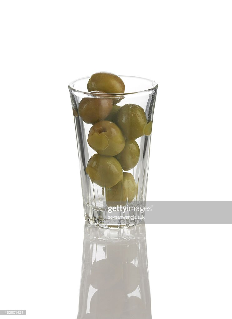olive in glass : Stock Photo