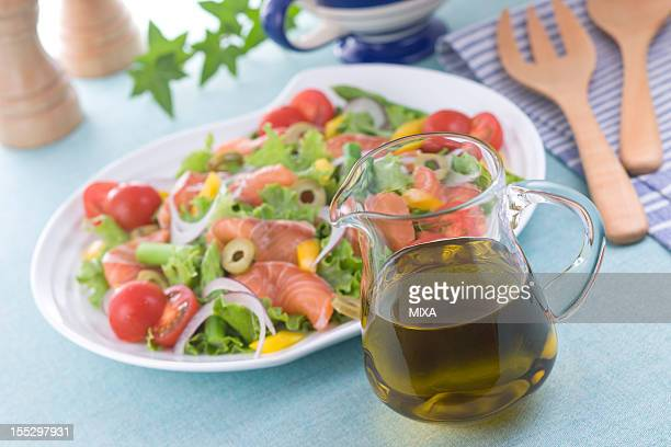 Olive Oil and Marinated Salmon Salad