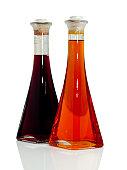 Olive Oil and Vinegar Bottles on White