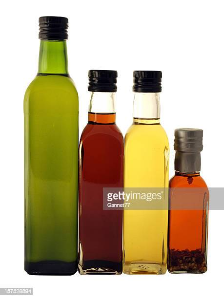 Olive Oil and Vinegar Bottles on White